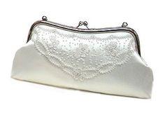 Bardot Beaded Wedding Bag - This beautiful ivory satin wedding bag is embellished with tiny ivory beads.