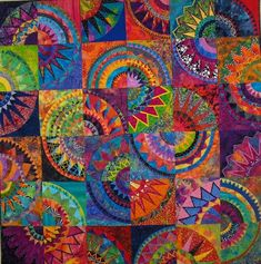Each kid makes a CIRCLE pattern, then break them up to make THIS.  WOW.  Limit the color palette.  GEOMETRY.  group art project ideas | This would be a great group project. | School stuff - art ideas.  Great to do with mandalas.