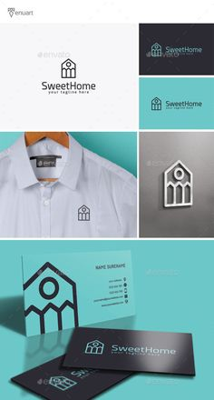Sweet Home Logo by Tenuart Logo Template Features A modern and simple logo CMYK Editable and resizable vector files Editable text and color Included AI, PSD Logo Desing, Logo Design Template, Graphic Design Branding, Logo Templates, Blond Amsterdam, Design Company Names, Logan, Sweet Home Design, Construction Logo Design