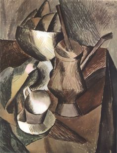 9. Натюрморт с кофейницей. 1909. Акварель. 61,3×47,5. Франция. Частное собрание