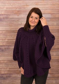 Ravelry: Roll Necked Poncho pattern by Thomasina Cummings Designs - sizes baby to adult - UK and US terms. Crochet Poncho With Sleeves, Crochet Baby Poncho, Crochet Poncho Patterns, Christmas Knitting Patterns, Crochet Bodycon Dresses, Black Crochet Dress, Patagonia Vest Outfit, Dress Gloves, Yarn Brands