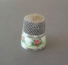 Beautiful vintage enamel-banded sterling thimble