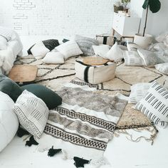 DREAM living room situation with millions of pillows via Design Love Fest.