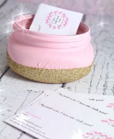 "Pink Business Card Holder. ""Baby Pink"" Chalk Painted Business Card Holder. Dipped in Gold Glitter"