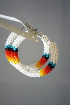 White Native American Beaded Hoop Earrings by eleumne on Etsy, #beadwork