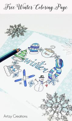 Grab this Free Winter Coloring Page and enjoy some down time to relax and get creative. Grab this Free Winter Coloring Page and enjoy some down time to relax and get creative. Bullet Journal Inspo, December Bullet Journal, Bullet Journal Cover Page, Bullet Journal Spread, Filofax, Free Coloring Pages, Coloring Books, Coloring Pages Winter, Winter Drawings