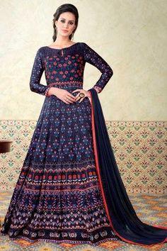 9c94a0fb217 Designer Satin Gown Dress In Multi Color - DMV15168 Anarkali Gown