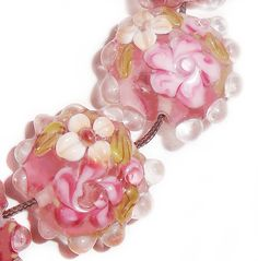 * Splendor in Lampwork Glass Floral Lentil Beads . Starting at $5 on Tophatter.com!