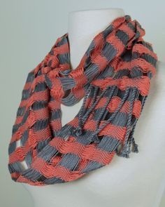 Coral & Gray Double Infinity Scarf by Loomination