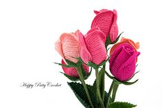 Crochet pattern for a Stem Rose Flower. This Rose is in a bud shape and is pretty much the all-time favorite wedding flower, or the flower to give for a special someone. Crochet a few of this elegant Rose to make a delicately beautiful decor, or several to make a stunning bouquet.