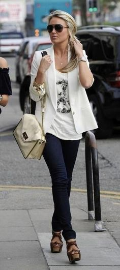 white Jkt and white print tee with skinny jeans and heels
