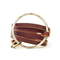 Halo Leather Wrap Espresso Bracelet