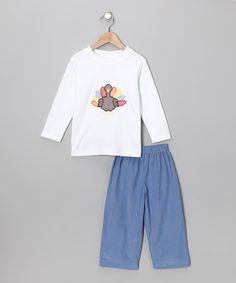Take a look at this Petite Palace Blue & White Turkey Tee & Corduroy Pants - Toddler by Play Away: Infant & Kids' Sets on #zulily today!