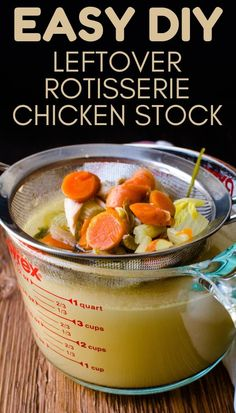 This easy, homemade leftover rotisserie chicken stock is the best healthy recipe that uses the whole carcass and bones to make a savory broth for soups and recipes. with chicken stock Leftover Rotisserie Chicken Stock Chicken Carcass Recipe, Chicken Bone Soup, Rotisserie Chicken Soup, Make Chicken Broth, Chicken Broth Recipes, Homemade Chicken Soup, Boiled Chicken, Soup Recipes, Chicken Soup From Bones