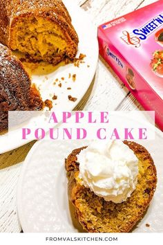 FROM VAL'S KITCHEN - Apple Pound Cake Recipe This simple yet versatile Apple Pound Cake is a family favorite because it's perfect for snacking and entertaining during the holidays and year-round! You can even cut some of the sugar by using Fall Desserts, Sweet Desserts, Golden Delicious Apple, Apple Pie Spice, Sweet And Low, Pound Cake Recipes, Cake Batter, Low Sugar, Cakes And More