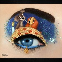 """WEBSTA @ tal_peleg - Lady and the Tramp """"This is the night, it's a beautiful night, and we call it Bella Notte"""" ~~~PRODUCT LISTSpaghetti and (vegan!) meatballs:Monacowatercolor,@katvondbeautyFran, Analogue ▫The Tramp: ear -@mehronmakeup modelling wax 