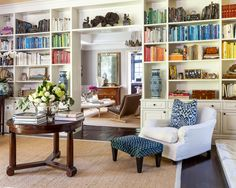 elegance beautiful home library design with white bookcase patition beside living room also flower vase on the top round table and brown carpet underneath Eclectic Living Room, My Living Room, Living Spaces, Cozy Living, Small Living, Living Area, Eclectic Bedrooms, Modern Bedroom, Loft Stil