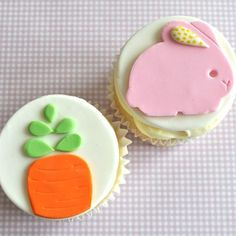 Six Easter Bunny Cupcake Toppers