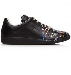 MAISON MARTIN MARGIELA BLACK LEATHER PAINTED TRAINER. Black. £329.00