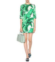 Green and white printed crêpe dress