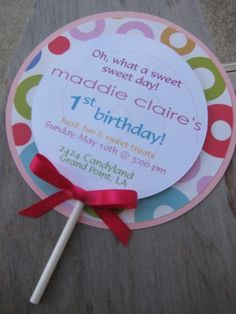 Candyland Lollipop Birthday Party Invitations by maddieclaire
