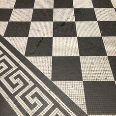 Black and white mosaic patterned floor of the National Gallery #London.  Classic elements never goes out of style.