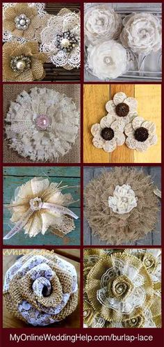 DIY Fabric Flowers with Lace and Burlap. Tutorial with Video DIY burlap and lace flowers tutorial. There are step by step instructions as well as a video. Examples of different types as well. Burlap Projects, Burlap Crafts, Fabric Crafts, Sewing Projects, Knitting Projects, Burlap Lace, Burlap Flowers, Diy Flowers, Hessian