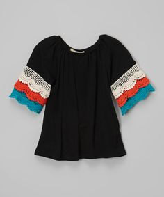 Look what I found on #zulily! Black Tiered Lace Sleeve Top - Infant, Toddler & Girls by Lady's World #zulilyfinds