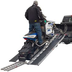 The Black Ice Snowmobile Ramps make it easy to load a sled into your truck bed with poly ski guides and a 1,500 lb capacity, so you can spend more time on the trails!
