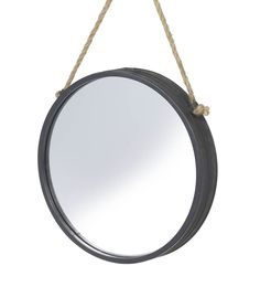 Black Metal Rim Mirror on Rope by Parlane Online Gift Shop, Online Gifts, Unusual Gifts For Her, Online Birthday Gifts, Pottery Gifts, Outdoor Gifts, Round Wall Mirror, Christening Gifts, Romantic Gifts