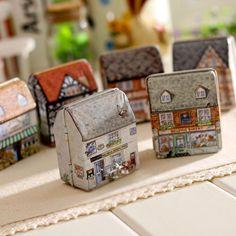 1 unids creativo mini estilo Europeo casa pequeña caja de almacenamiento de caramelo del favor de la boda caja de la lata de zakka cable organizador contenedor hogar