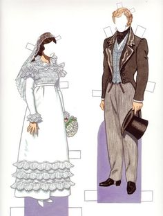 """Bride & Groom 1820s*1500 free paper dolls at Arielle Gabriel""""s The International Paper Doll Society and free Chinese Japanese paper dolls at The China Adventures of Arielle Gabriel *"""