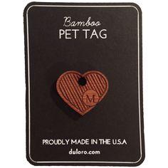 Pet Tag - Wood Monogram Dog tag - Striped Heart  #wooddogtag #dogtag #keychain