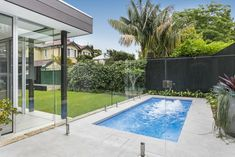 Project Details Eden Slimline Marbleglass – Aquamarine Features -Infloor Cleaning System and Swim Jets Small Inground Pool, Small Backyard Pools, Small Pools, Swimming Pools Backyard, Swimming Pool Designs, Small Backyards, Pool Paving, Pool Landscaping, Grey Paving