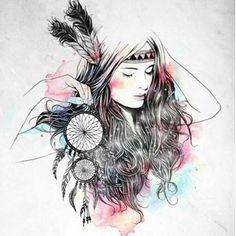 Les tags les plus populaires pour cette image incluent : art, dreamcatcher, girl, illustration et filtro dos sonhos