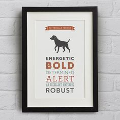 Patterdale Terrier Dog Breed Traits Print - Great gift for dog lovers!