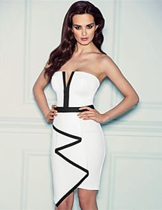 Topro Women's Sexy Strapless Bodycon Bandage Ruffles Front Slimming Dress