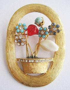 Turquoise Cab, Red Glass & Rhinestone Flowers in Pot Pin