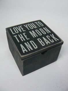 Love You To The Moon And Back Wood Box Sign with Hinged Lid Primitives by Kathy Home Decor