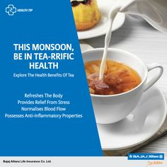 There's no better way to welcome the monsoon season than with a hot cup of tea. Drink up and embrace its numerous health benefits. #HealthTips
