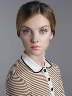 Vogue UK - Robin Derrick - Soft gray smokey eye and peach lips.