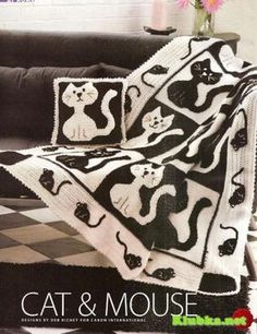 Cat and mouse | Crotchet throw with pattern from Klubka {}