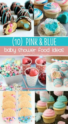 "10 Baby Shower Food Ideas that are cute and easy too! - Your guests will ""ooh"" and ""aah"" over these tasty pink and blue baby shower food ideas! Perfect for a gender reveal party or adorable baby shower. Country Gender Reveal, Gender Reveal Food, Simple Gender Reveal, Baby Gender Reveal Party, Gender Party, Gender Reveal Twins, Gender Reveal Cookies, Baby Shower Food For Girl, Baby Shower Treats"