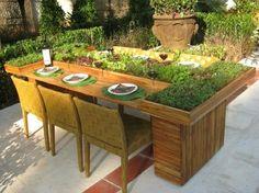 Holztisch Garten Europaletten Pflanzen selber bauen
