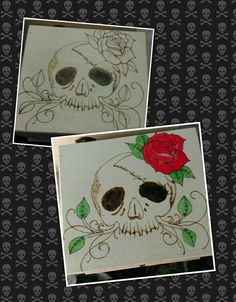 Before and after colour. Pyrography/wood burned box