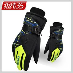 bc4bd4eb723cd Winter Warm Snowboard Ski Gloves For Men Winter outdoor Mountain Sports  snowboard Skiing Waterproof Gloves Yellow sports Men's Gloves cool menswear  ...