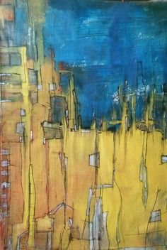 Original painting large Abstract - city in yellow & blue by AbstractArtDesigns on Etsy