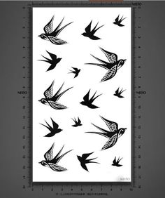 Swallows birds temporary tattoos for men women by Coolfashion4u