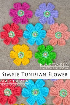 How to Crochet Simple Tunisian Flower DIY Tutorial Flowers Free Pattern and YouT. Tunisian Crochet Patterns, Crochet Flower Patterns, Crochet Motif, Easy Crochet, Crochet Stitches, Crochet Hooks, Knitting Patterns, Flower Crafts, Diy Flowers