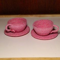 Tea Time Pink Teacups and Saucers by ALittleCrafTee on Etsy, $17.00. Made with clothesline rope coiled to make these wonderful and adorable teacups
